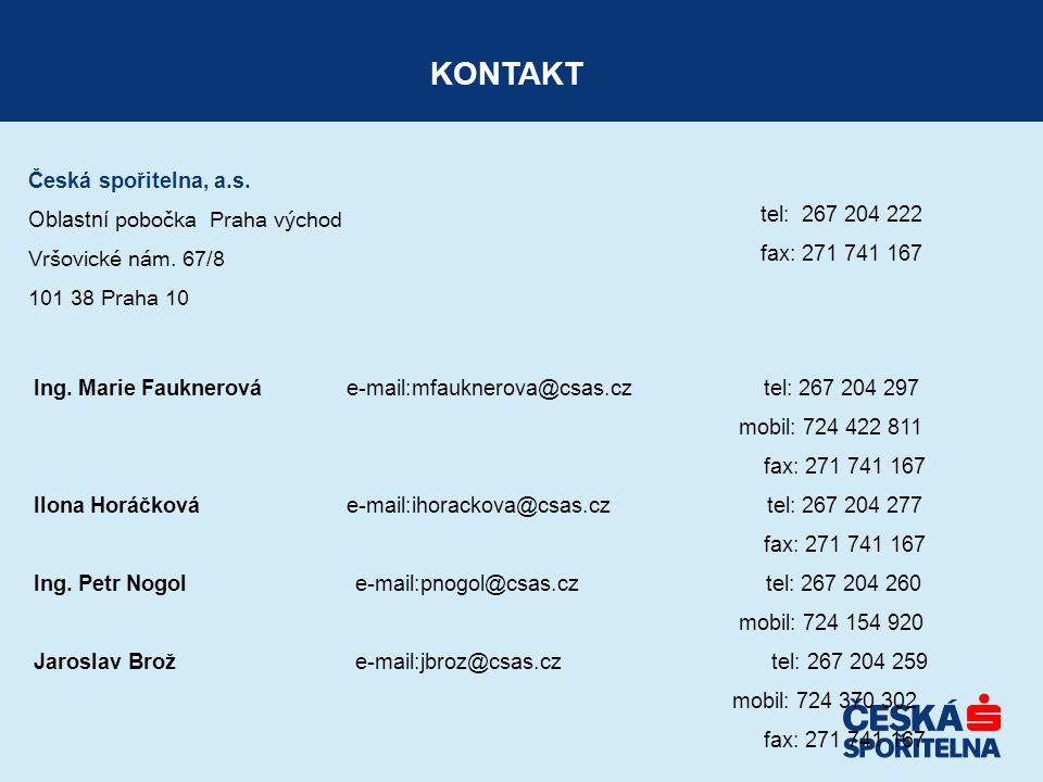 KONTAKT Česká spořitelna, a.s. tel: 267 204 222