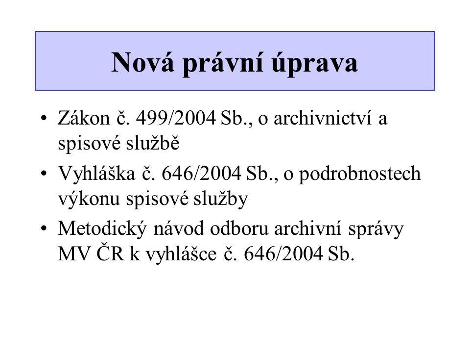 Nová právní úprava Zákon č. 499/2004 Sb., o archivnictví a spisové službě. Vyhláška č. 646/2004 Sb., o podrobnostech výkonu spisové služby.