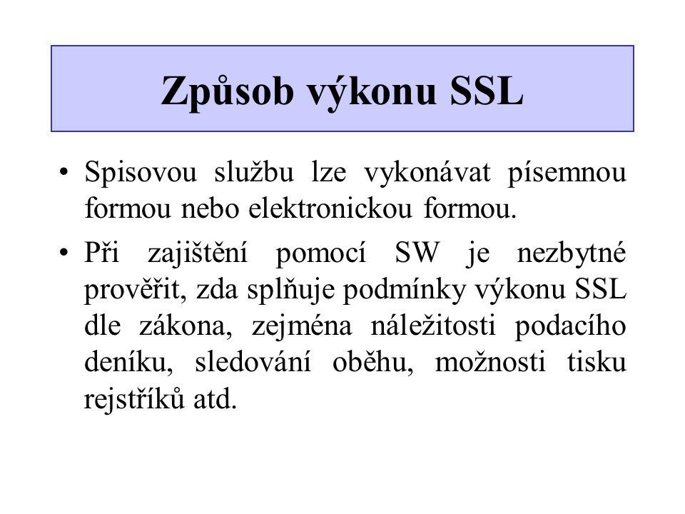 Způsob výkonu SSL Spisovou službu lze vykonávat písemnou formou nebo elektronickou formou.