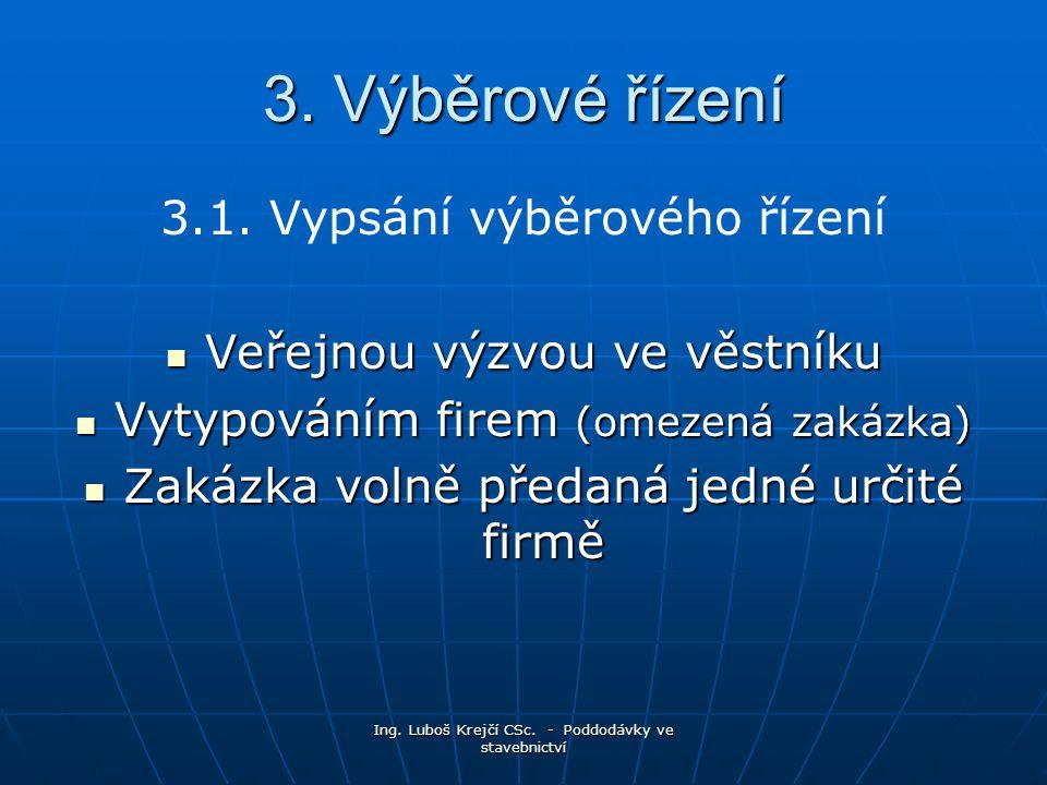 3. Výběrové řízení 3.1. Vypsání výběrového řízení