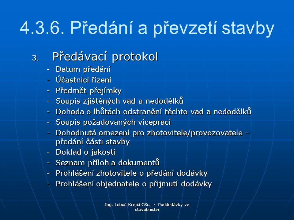4.3.6. Předání a převzetí stavby
