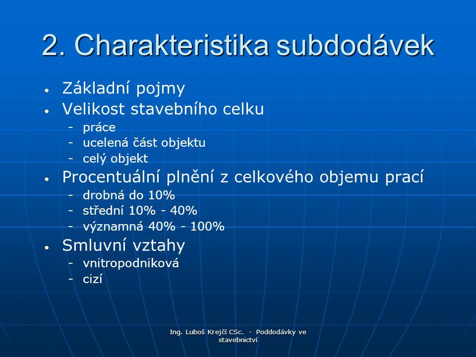 2. Charakteristika subdodávek