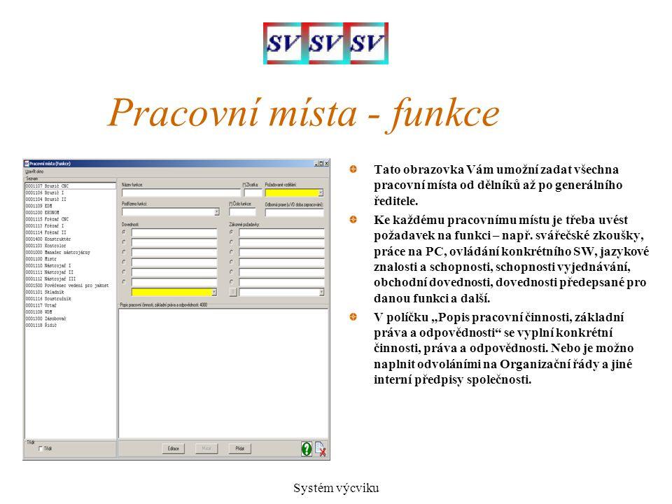 Pracovní místa - funkce
