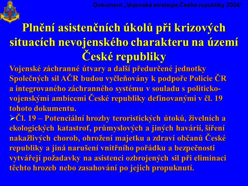 """Dokument """"Vojenská strategie České republiky 2004"""