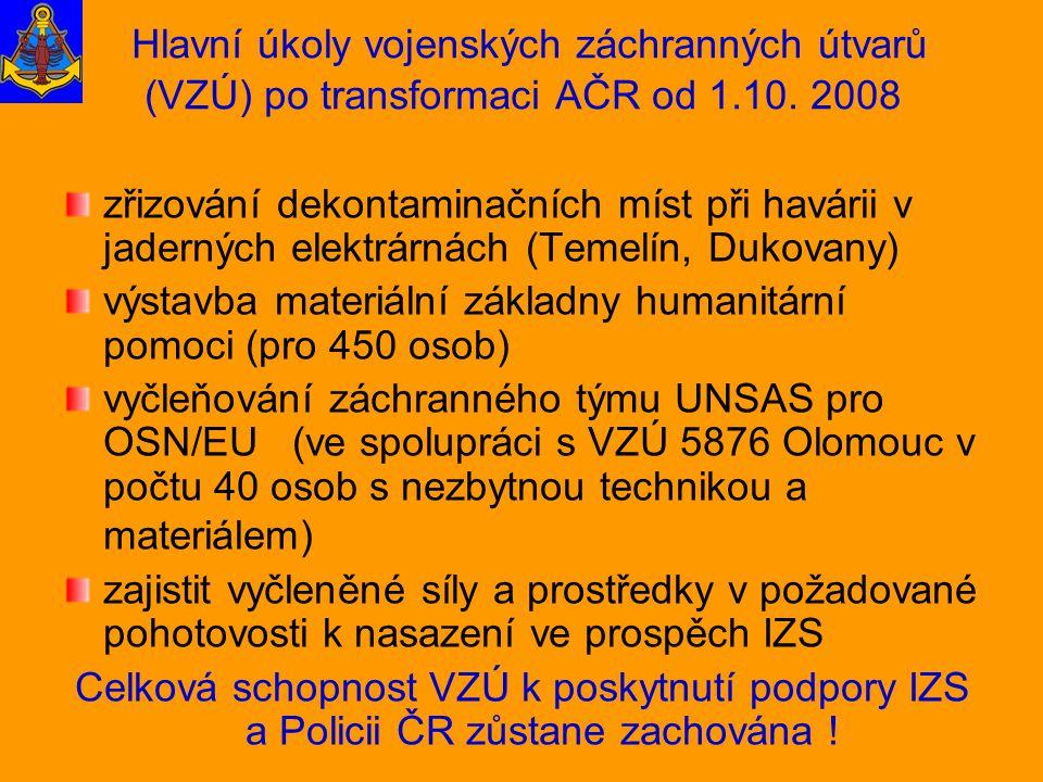Hlavní úkoly vojenských záchranných útvarů (VZÚ) po transformaci AČR od 1.10. 2008