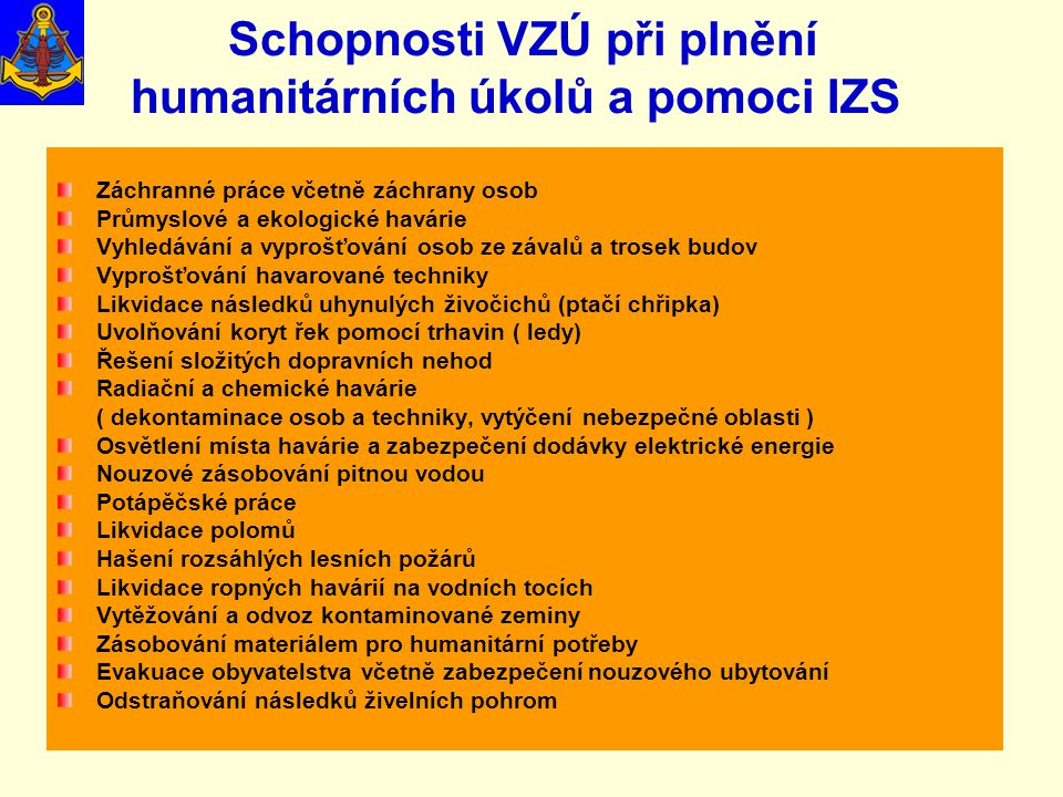 Schopnosti VZÚ při plnění humanitárních úkolů a pomoci IZS
