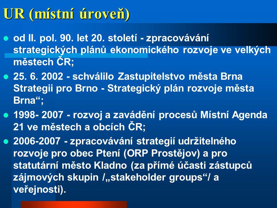 UR (místní úroveň) od II. pol. 90. let 20. století - zpracovávání strategických plánů ekonomického rozvoje ve velkých městech ČR;