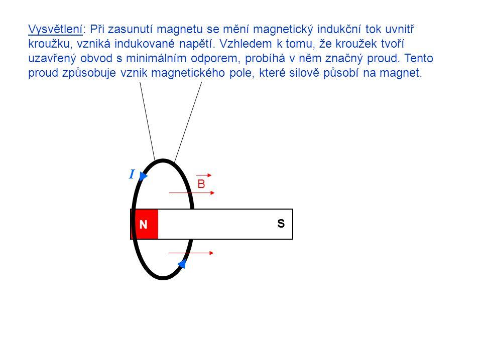 Vysvětlení: Při zasunutí magnetu se mění magnetický indukční tok uvnitř kroužku, vzniká indukované napětí. Vzhledem k tomu, že kroužek tvoří uzavřený obvod s minimálním odporem, probíhá v něm značný proud. Tento proud způsobuje vznik magnetického pole, které silově působí na magnet.