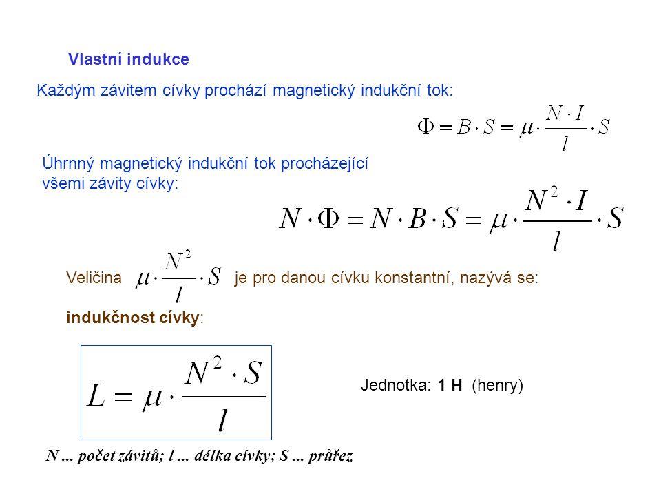 Vlastní indukce Každým závitem cívky prochází magnetický indukční tok: Úhrnný magnetický indukční tok procházející všemi závity cívky: