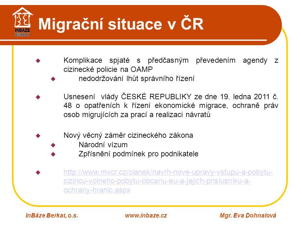 Migrační situace v ČR Komplikace spjaté s předčasným převedením agendy z cizinecké policie na OAMP.