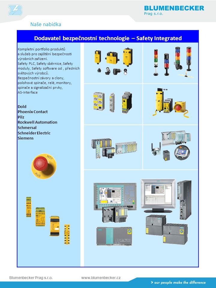 Dodavatel bezpečnostní technologie – Safety Integrated