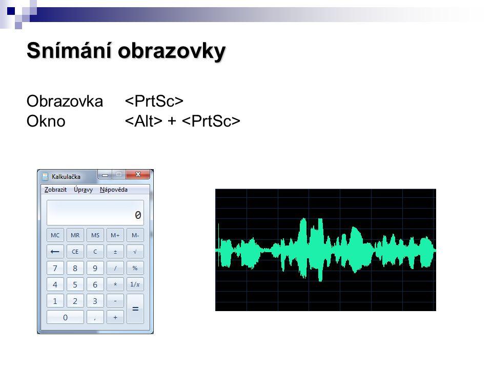 Snímání obrazovky Obrazovka <PrtSc>