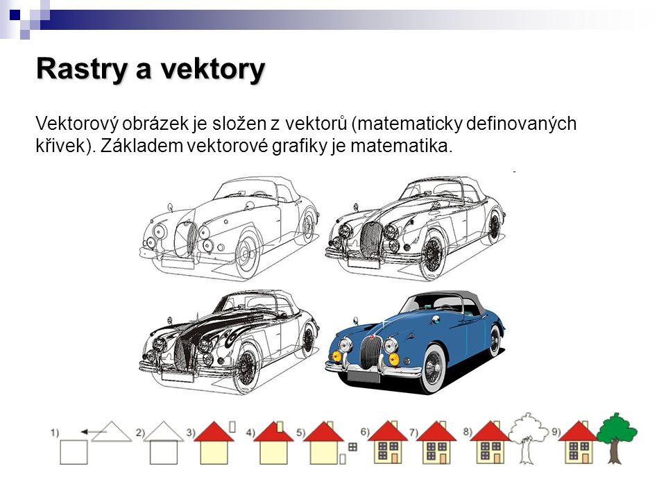 Rastry a vektory Vektorový obrázek je složen z vektorů (matematicky definovaných křivek).