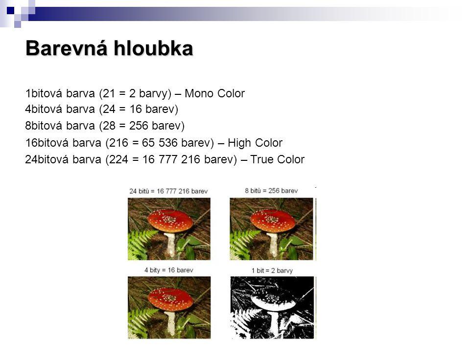 Barevná hloubka 1bitová barva (21 = 2 barvy) – Mono Color