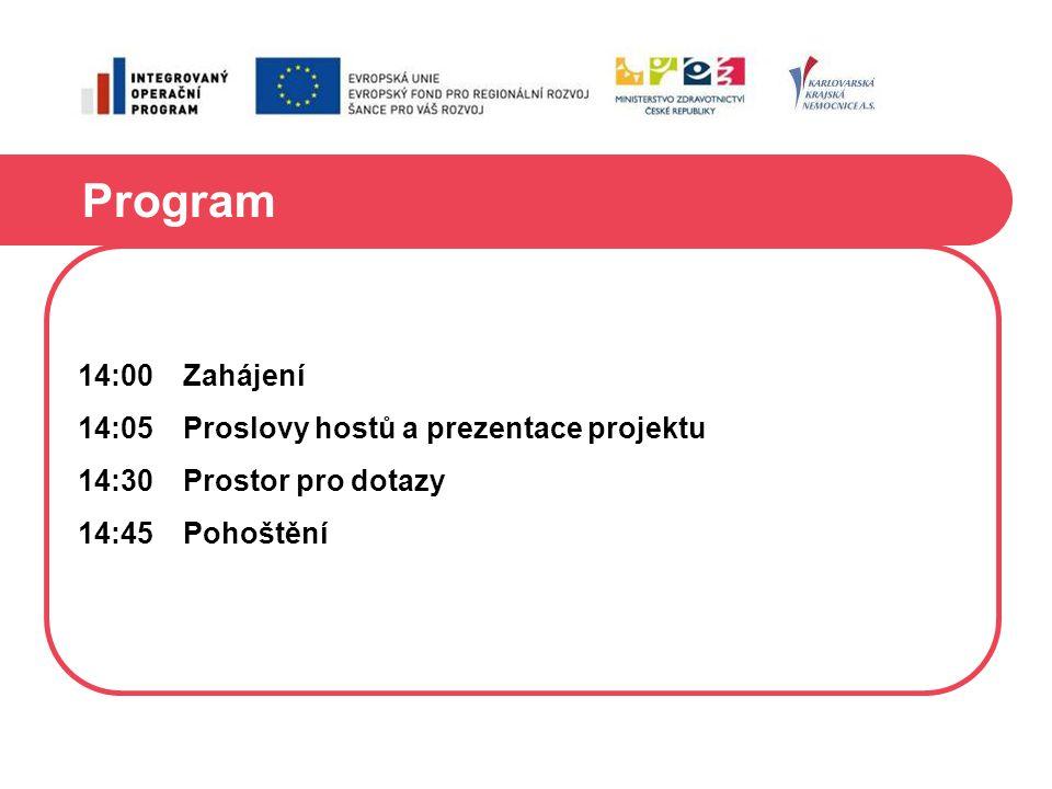 Program 14:00 Zahájení 14:05 Proslovy hostů a prezentace projektu