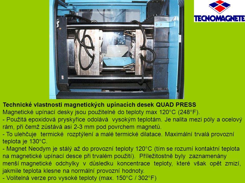 Technické vlastnosti magnetických upínacích desek QUAD PRESS