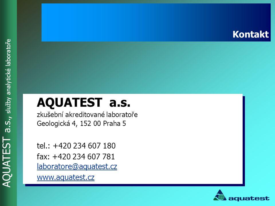 Kontakt AQUATEST a.s. zkušební akreditované laboratoře Geologická 4, 152 00 Praha 5. tel.: +420 234 607 180.
