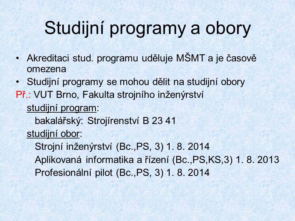 Studijní programy a obory