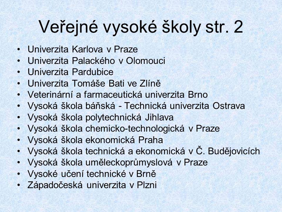 Veřejné vysoké školy str. 2