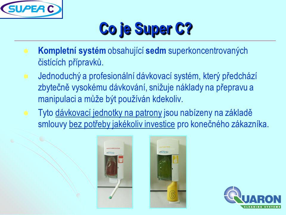 Co je Super C Kompletní systém obsahující sedm superkoncentrovaných čistících přípravků.