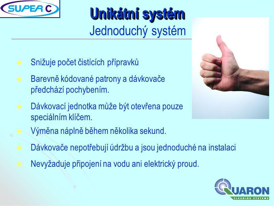 Unikátní systém Jednoduchý systém Snižuje počet čistících přípravků