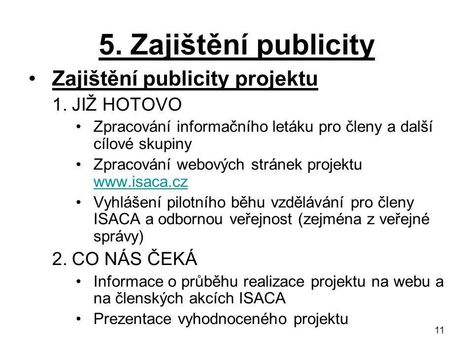 5. Zajištění publicity Zajištění publicity projektu JIŽ HOTOVO