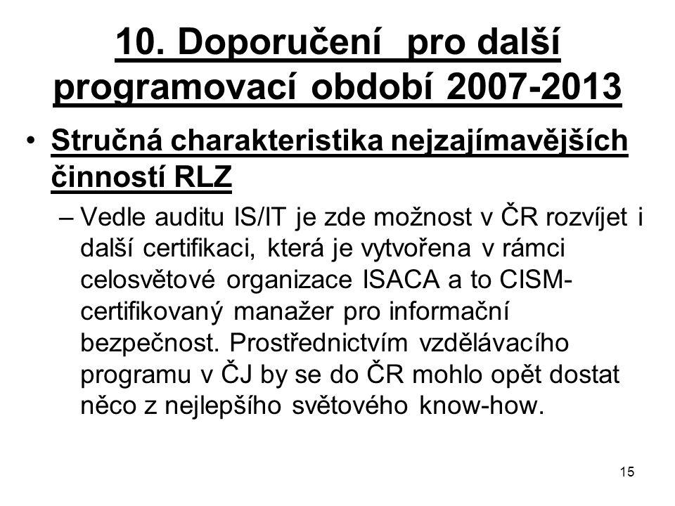 10. Doporučení pro další programovací období 2007-2013