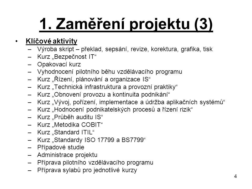 1. Zaměření projektu (3) Klíčové aktivity