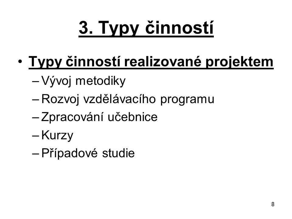 3. Typy činností Typy činností realizované projektem Vývoj metodiky