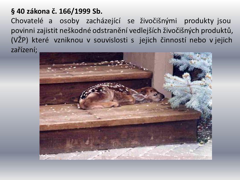 § 40 zákona č. 166/1999 Sb. Chovatelé a osoby zacházející se živočišnými produkty jsou.