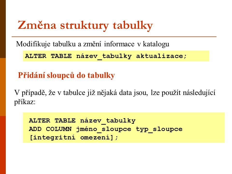 Změna struktury tabulky