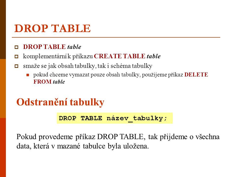DROP TABLE Odstranění tabulky