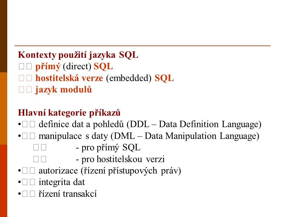 Kontexty použití jazyka SQL