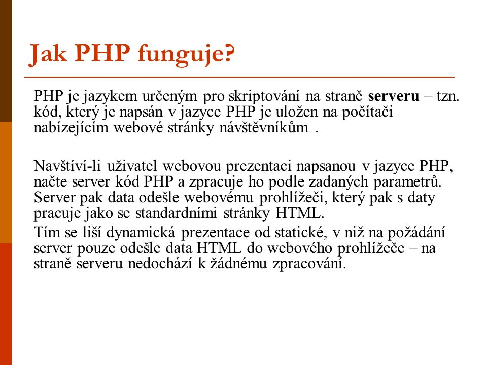 Jak PHP funguje