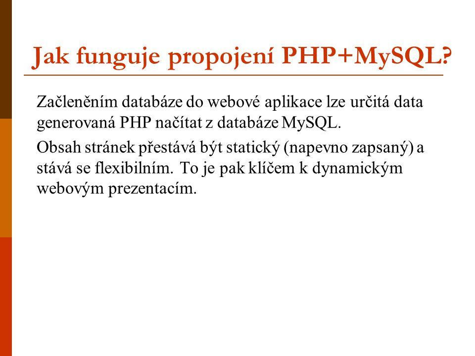 Jak funguje propojení PHP+MySQL