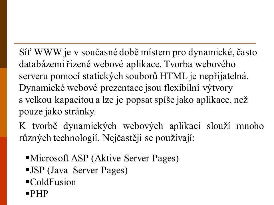 Síť WWW je v současné době místem pro dynamické, často databázemi řízené webové aplikace. Tvorba webového serveru pomocí statických souborů HTML je nepřijatelná. Dynamické webové prezentace jsou flexibilní výtvory s velkou kapacitou a lze je popsat spíše jako aplikace, než pouze jako stránky.