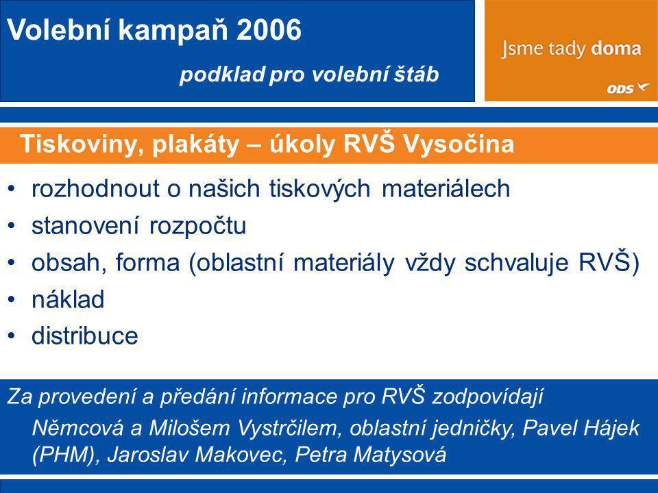 Tiskoviny, plakáty – úkoly RVŠ Vysočina
