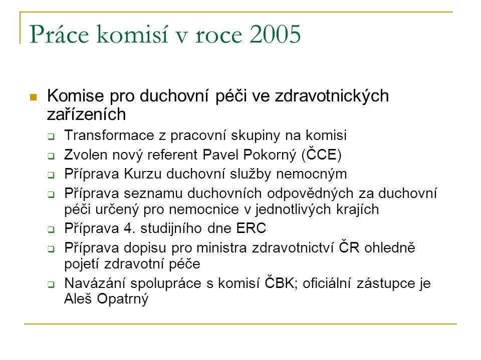 Práce komisí v roce 2005 Komise pro duchovní péči ve zdravotnických zařízeních. Transformace z pracovní skupiny na komisi.