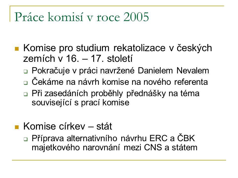 Práce komisí v roce 2005 Komise pro studium rekatolizace v českých zemích v 16. – 17. století. Pokračuje v práci navržené Danielem Nevalem.