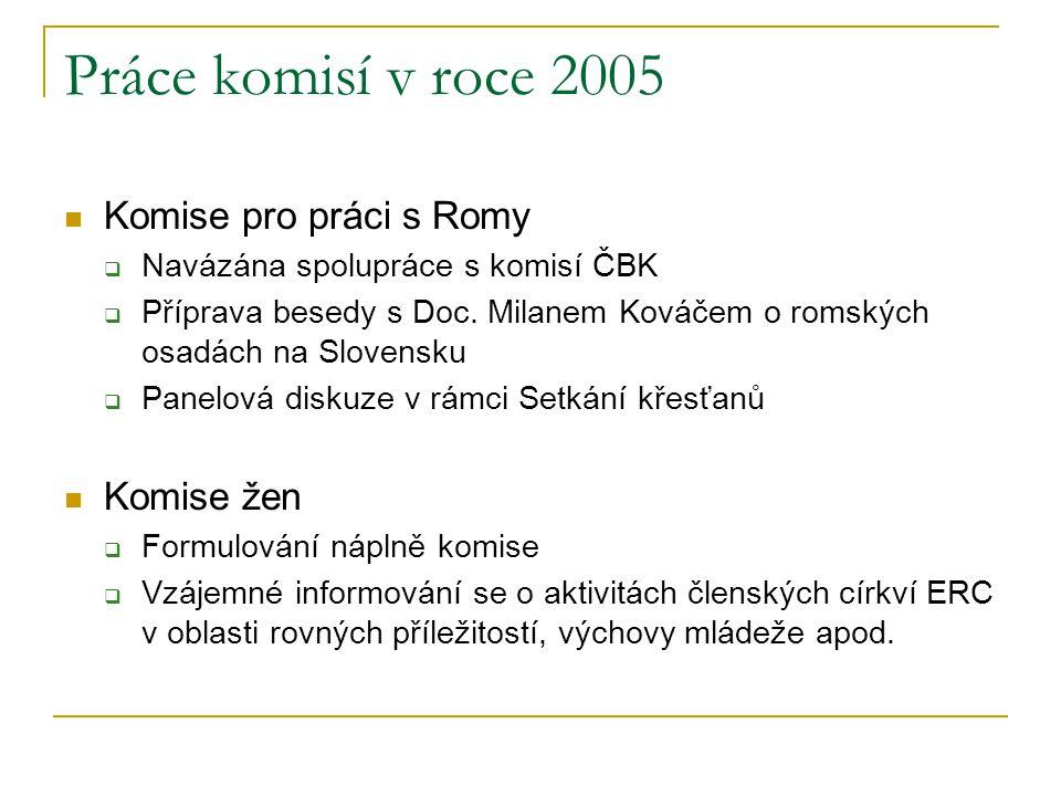 Práce komisí v roce 2005 Komise pro práci s Romy Komise žen