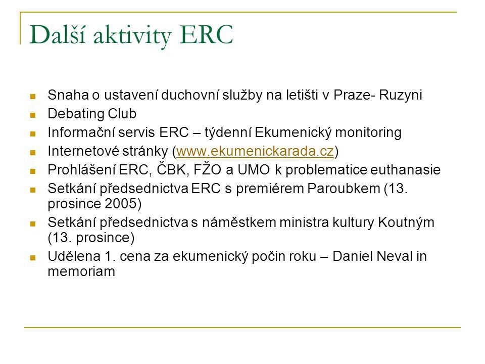 Další aktivity ERC Snaha o ustavení duchovní služby na letišti v Praze- Ruzyni. Debating Club.