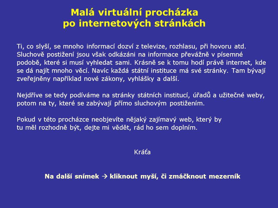 Malá virtuální procházka po internetových stránkách