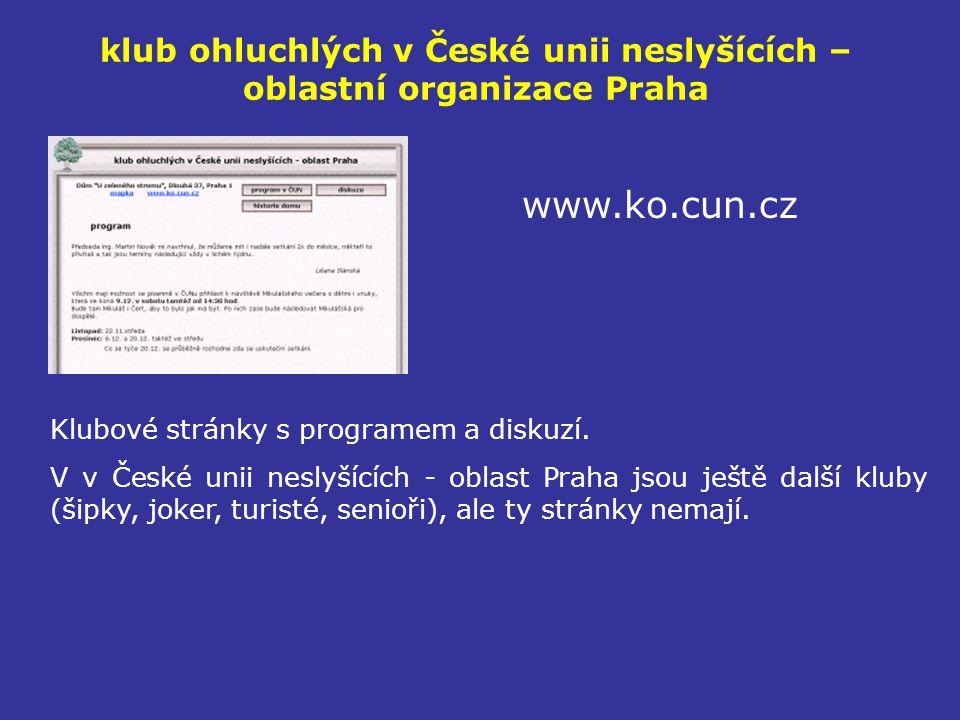 klub ohluchlých v České unii neslyšících – oblastní organizace Praha