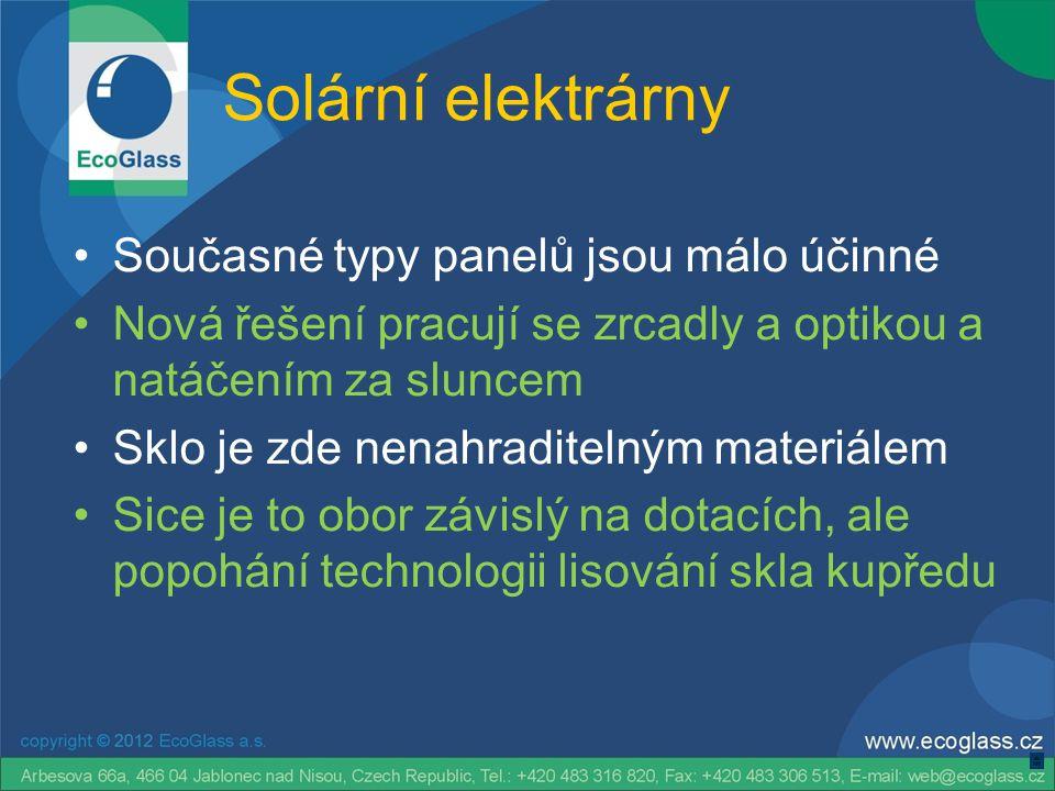Solární elektrárny Současné typy panelů jsou málo účinné