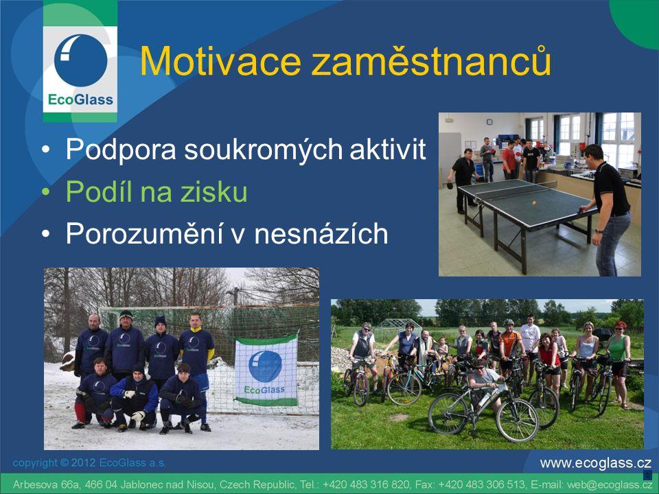 Motivace zaměstnanců Podpora soukromých aktivit Podíl na zisku