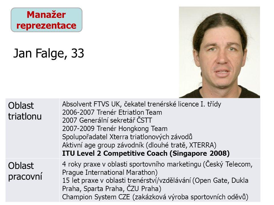 Jan Falge, 33 Manažer reprezentace Oblast triatlonu Oblast pracovní