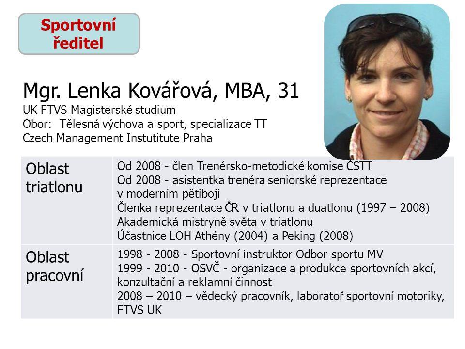 Mgr. Lenka Kovářová, MBA, 31 Sportovní ředitel Oblast triatlonu