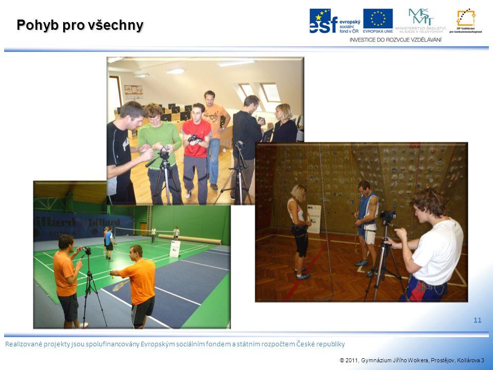 Pohyb pro všechny 11. Realizované projekty jsou spolufinancovány Evropským sociálním fondem a státním rozpočtem České republiky.