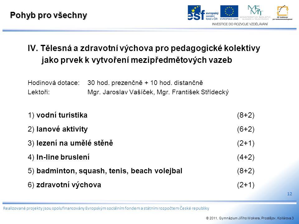 IV. Tělesná a zdravotní výchova pro pedagogické kolektivy