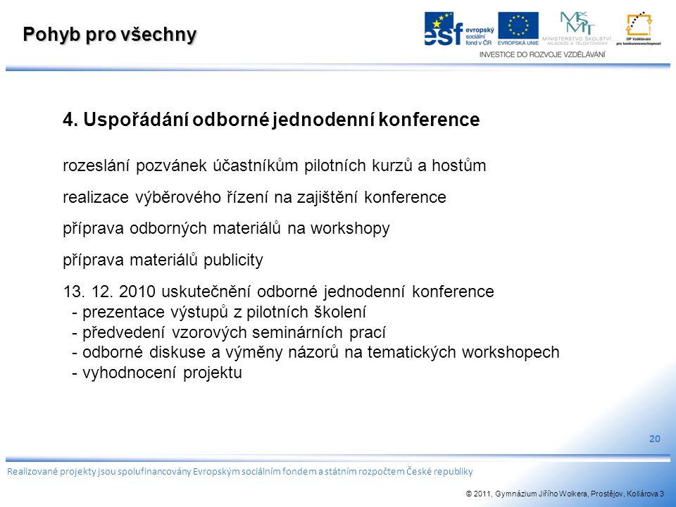 4. Uspořádání odborné jednodenní konference